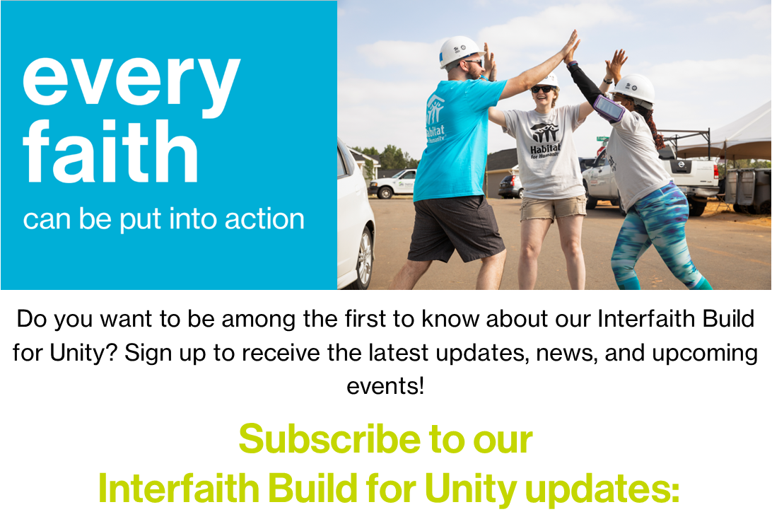 Interfaith Build for Unity Subscribe Page Banner