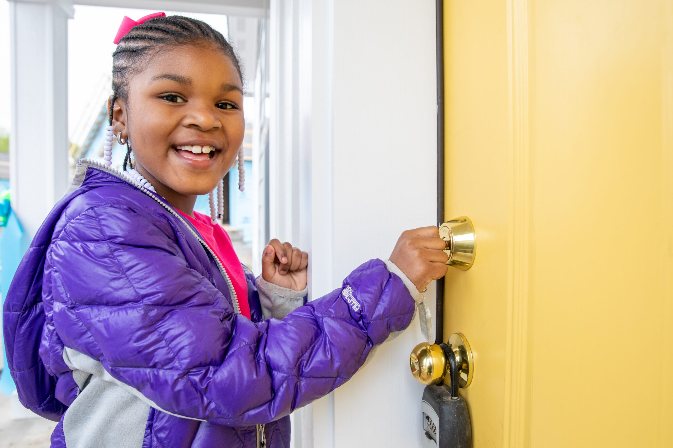 NASHVILLE, TENNESSEE (04/26/18)- Cyniah Osborne, 6, tours her future home during Habitat for Humanity's Home is the Key dedication ceremony in Nashville. © Habitat for Humanity International/Jason Asteros
